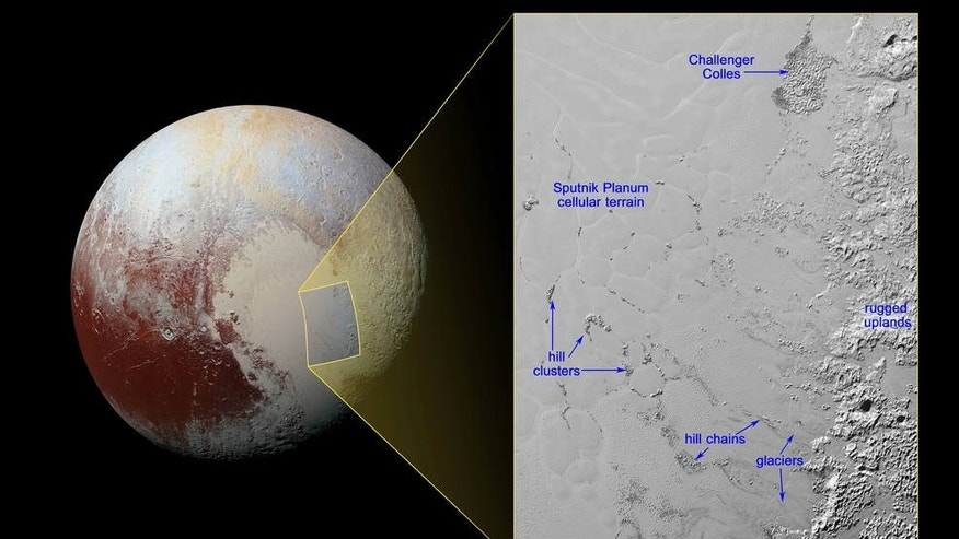 Hills of water ice on Pluto 'float' in a sea of frozen nitrogen and move over time like icebergs in Earth's Arctic Ocean (Credits: NASA/JHUAPL/SwRI)