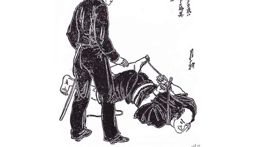 There is no mention of handcuffs in the book. Instead it has an entire section devoted to rope tying techniques. Some of the rope techniques used on suspects are elaborate, as seen in this illustration.