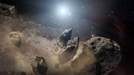 Image courtesy of NASA shows an artist's concept of a broken-up asteroid. Scientists think that a giant asteroid, which broke up long ago in the main asteroid belt between Mars and Jupiter, eventually made its way to Earth and led to the extinction of the dinosaurs. Data from NASA's WISE mission likely rules out the leading suspect, a member of a family of asteroids called Baptistina, so the search for the origins of the dinosaur-killing asteroid goes on.  REUTERS/NASA/JPL-Caltech/Handout  (UNITED STATES - Tags: SCIENCE TECHNOLOGY ENVIRONMENT) FOR EDITORIAL USE ONLY. NOT FOR SALE FOR MARKETING OR ADVERTISING CAMPAIGNS. THIS IMAGE HAS BEEN SUPPLIED BY A THIRD PARTY. IT IS DISTRIBUTED, EXACTLY AS RECEIVED BY REUTERS, AS A SERVICE TO CLIENTS - RTR2RKFX