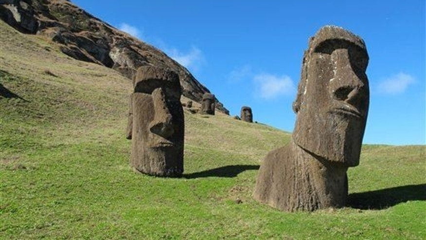This August 2012 photo shows heads at Rano Raraku, the quarry on Easter Island.