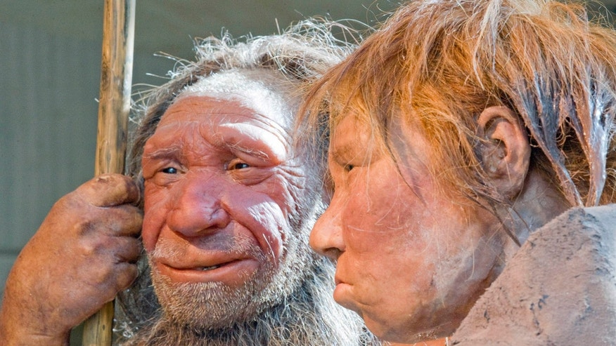 FILE - This March 20, 2009 file photo shows reconstructions of a Neanderthal man, left, and woman at the Neanderthal museum in Mettmann, Germany. (AP Photo/Martin Meissner)
