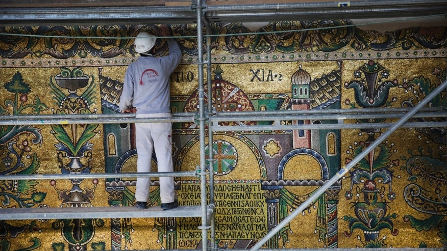 File photo of renovations at Bethlehem's Church of the Nativity (AP Photo/Nasser Nasser)