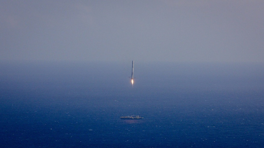 File photo - CRS-6 Falcon 9 drone ship landing attempt on April 14, 2015 (SpaceX).