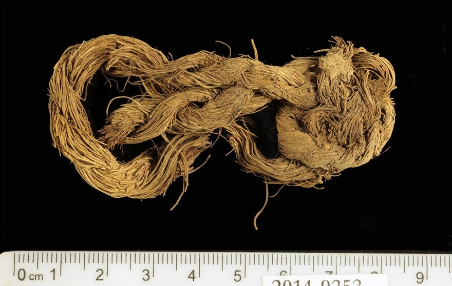 Rope made of the fibers of a date palm tree found at Site 34.