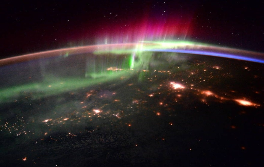 "NASA astronaut Scott Kelly and ESA astronaut Tim Peake shared a series of aurora photographs taken from the International Space Station on Jan. 20, 2016. Kelly wrote, ""#goodmorning #aurora and the Pacific Northwest! #YearInSpace"" and Peakefollowed up with, ""Getting a photo masterclass from @StationCDRKelly – magical #aurora"""