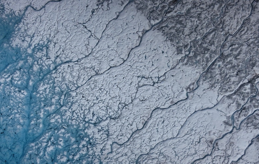 Aerial images of Greenland show rivers of meltwater and areas of dark ice. . (Marco Tedesco/Lamont-Doherty Earth Observatory)