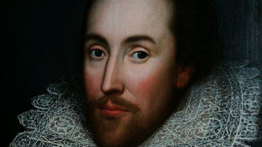 A portrait of William Shakespeare is seen in London.