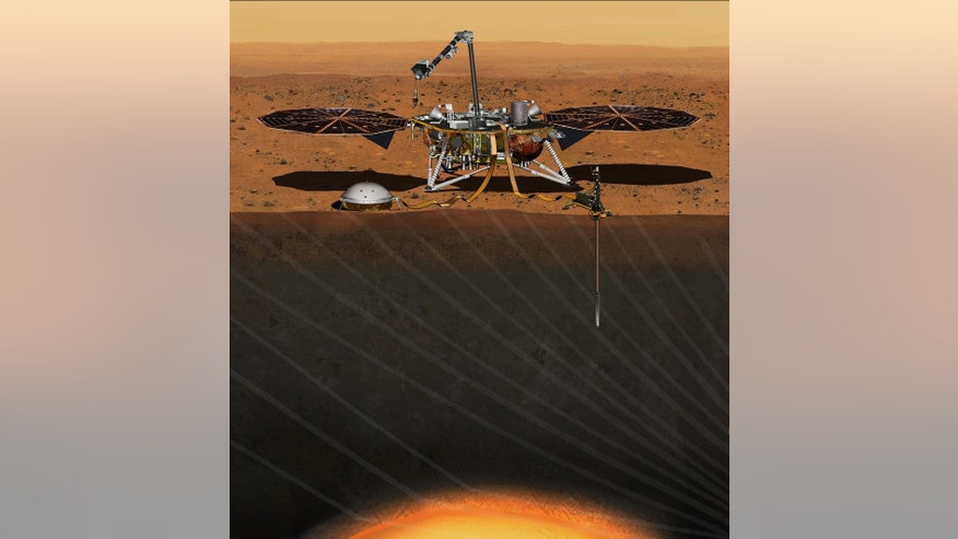 This artist's concept depicts the InSight lander on Mars after the lander's robotic arm has deployed a seismometer and a heat probe directly onto the ground. InSight is the first mission dedicated to investigating the deep interior of Mars. The findings will advance understanding of how all rocky planets, including Earth, formed and evolved.  (Credits: NASA/JPL-Caltech)