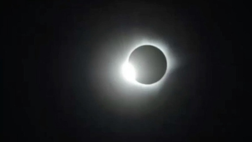 "The ""diamond ring"" effect is seen in this view of the March 8, 2016 total solar eclipse, which was captured by the Slooh Community Observatory."