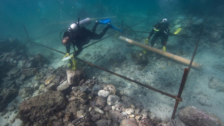 In this undated photo made available by Blue Water Recoveries company on Tuesday, March 15, 2016, divers excavate the wreck site of the Portuguese explorer Vasco da Gama's ship, Esmeralda which sank in a storm in May 1503 off the coast of Al Hallaniyah island in Oman's Dhofar region. (Blue Water Recoveries company via AP)