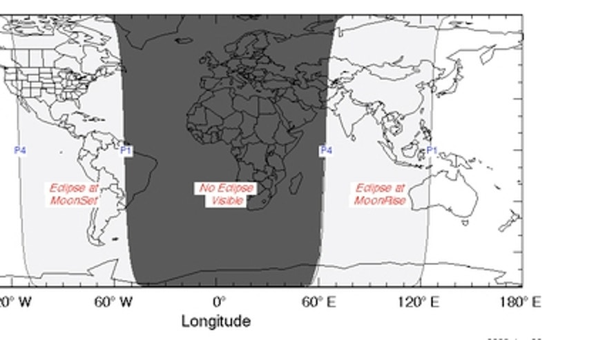 Chart showing the regions from which the penumbral lunar eclipse of March 23, 2016, will be visible, weather permitting.