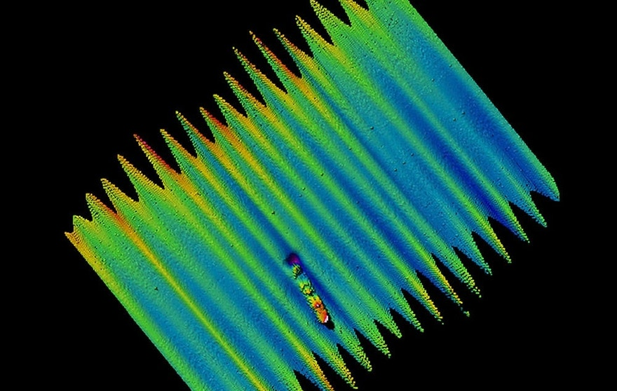 Multibeam sonar image of the shipwreck site.