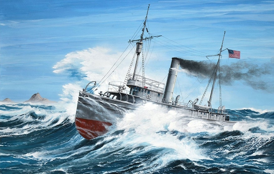 Modern painting of the USS Conestoga (AT 54) on its final voyage pounding through large waves during a gale off Southeast Farallon Island in March 1921.