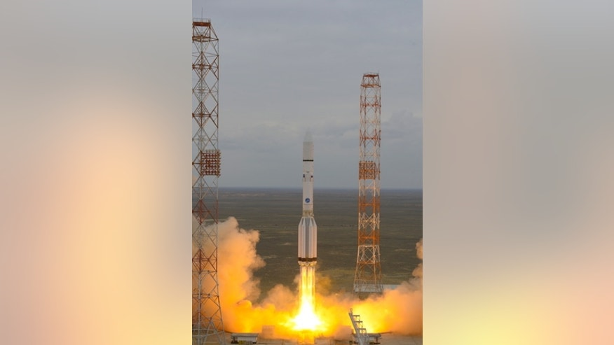 A Russian Proton-M rocket launches the European Space Agency's ExoMars 2016 mission toward the Red Planet from Baikonur Cosmodrome in Kazakhstan on March 14, 2016.