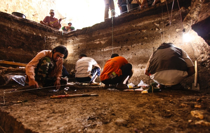 Archaeological excavations of Holocene deposits at Liang Bua in progress. These sediments contain skeletal and behavioural evidence of modern humans (Homo sapiens).