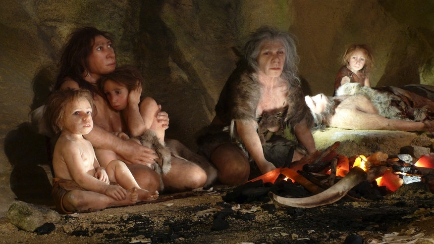 An exhibit shows the life of a neanderthal family in a cave in the new Neanderthal Museum in the northern town of Krapina February 25, 2010. (REUTERS/Nikola Solic)