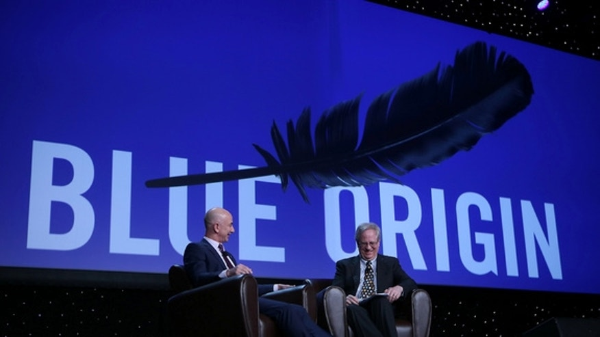 Jeff Bezos, CEO of the private spaceflight company Blue Origin, at the National Space Symposium on April 12, 2016. Bezos talked with science writer Alan Boyle.