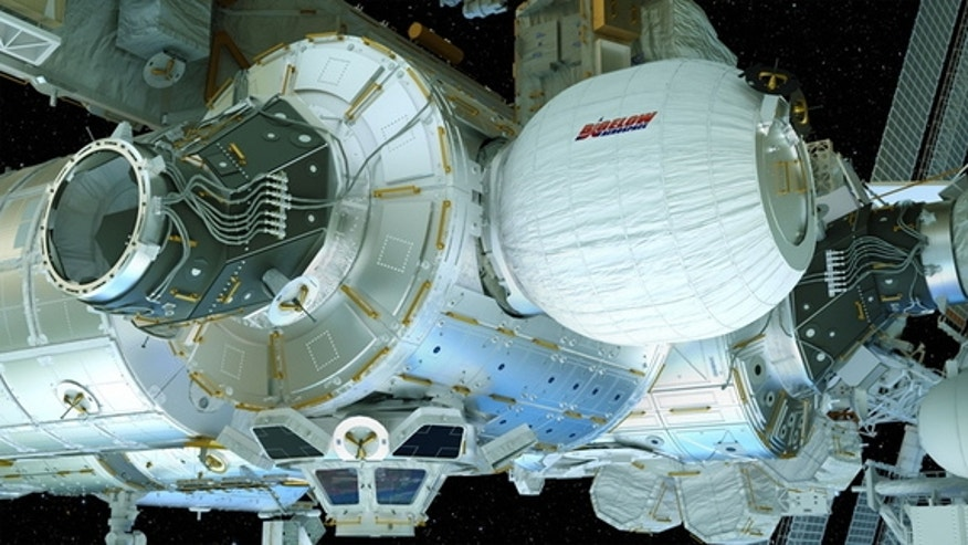 An artist's illustration of the Bigelow Expandable Activity Module (BEAM), built by Bigelow Aerospace, inflated and attached to the International Space Station.