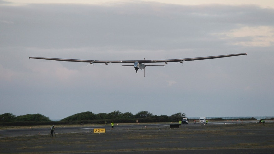 The Solar Impulse 2 solar plane lifts off at the Kalaeloa Airport, Thursday, April 21, 2016, in Kapolei, Hawaii.  The solar plane will fly a two-and-a-half day journey to Northern California.  (AP Photo/Marco Garcia)