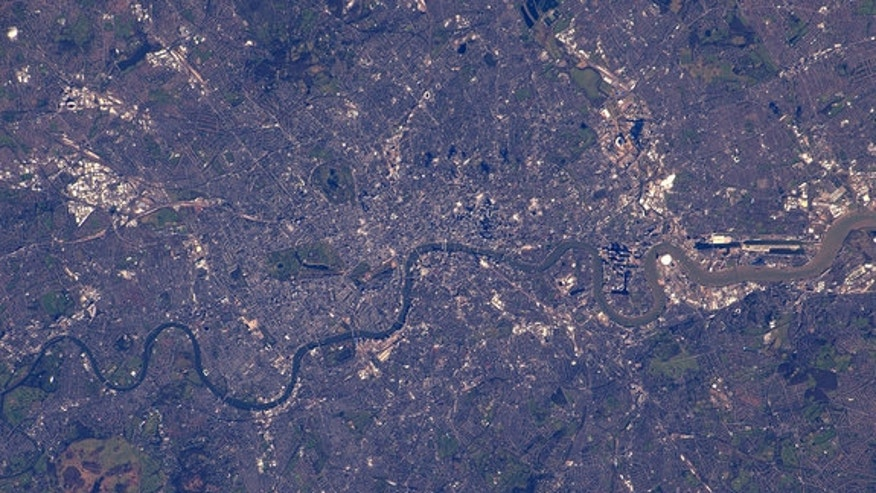 "Tim Peake shared this image of London as photographed from the International Space Station. ""Hello London! Fancy a run?"""
