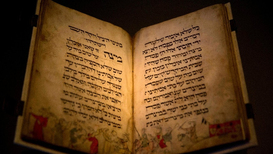 Passover manuscript Published April 25, 2016 Associated Press Facebook0 Twitter0	livefyre0 Email Print In this photo taken Wednesday, April 20, 2016, the famed Birds' Head Haggadah, a medieval copy of a text read around the Passover holiday table, is seen on display at the Israel Museum in Jerusalem. (AP Photo/Sebastian Scheiner)