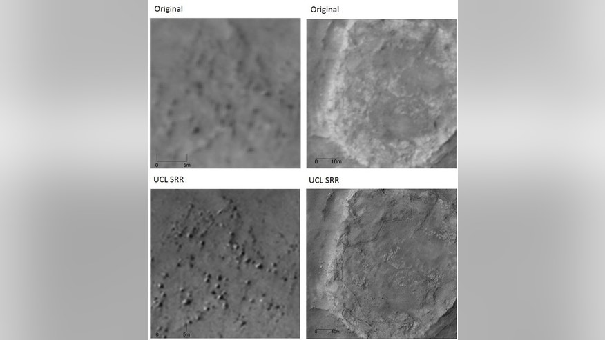 "Original photos by NASA's Mars Reconnaissance Orbiter (top row) of a rock field (left) and tracks left by the Spirit rover (right), both in the ""Home Plate"" region of Mars. The bottom row shows"