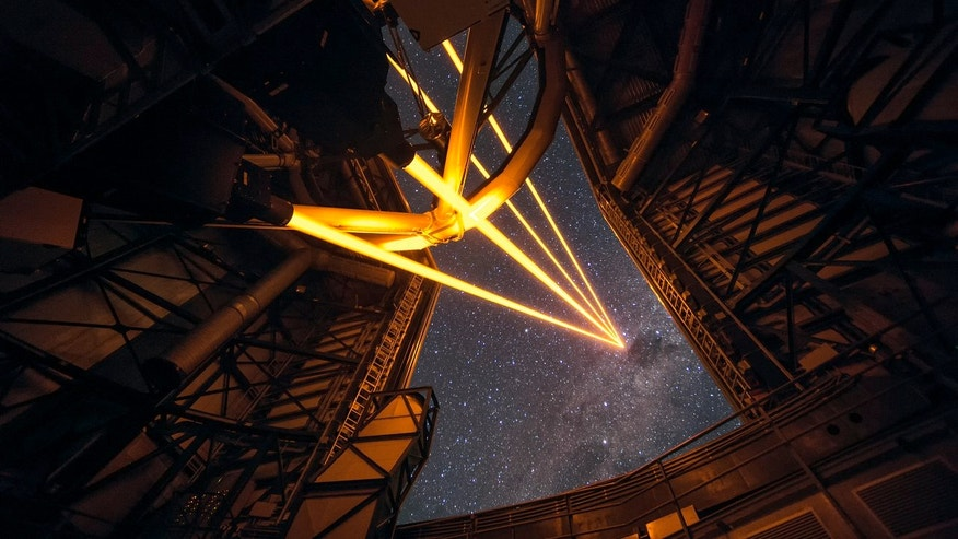 The Four Laser Guide Star Facility for the adaptive optics system on the European Southern Observatory's Very Large Telescope in Chile is activated for the first time in this amazing view taken on April 26, 2016. The