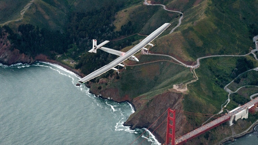 File photo - In this April 23, 2016 file photo, Solar Impulse 2 flies over the Golden Gate Bridge in San Francisco at the end of its journey from Hawaii, part of its attempt to circumnavigate the globe. (AP Photo/Noah Berger, File)