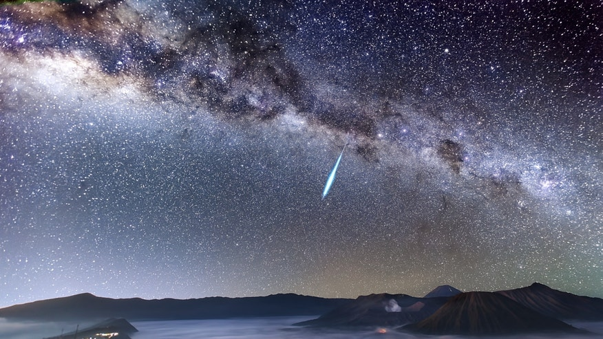 Justin Ng of Singapore captured this view of a bright Eta Aquarid meteor hurtling across the night sky over Mount Bromo, on the Indonesian island of Java.