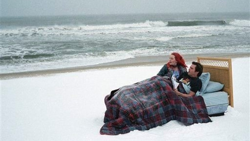 "Kate Winslet, left, and Jim Carrey in a scene from the film ""Eternal Sunshine of the Spotless Mind."""
