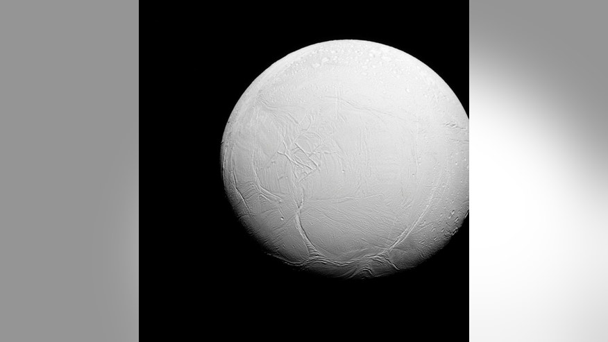 Enceladus, the sixth-largest moon of Saturn, is shown in this photo taken in visible green light with the Cassini spacecraft narrow-angle camera on July 27, 2015 and released on October 27, 2015. (REUTERS/NASA/JPL-Caltech/Space Science Institute/Handout)