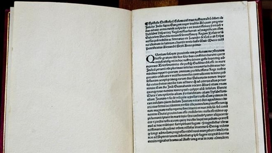 A 1493 copy of Christopher Columbus original letter is seen in Rome.