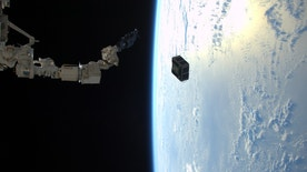The robotic arm in Japan's Kibo laboratory successfully deploys two combined satellites from Texas universities from the International Space Station, January 29, 2016. The pair of satellites -- AggieSat4 built by Texas A&M University students, and BEVO-2 built by University of Texas students -- together form the Low Earth Orbiting Navigation Experiment for Spacecraft Testing Autonomous Rendezvous and Docking (LONESTAR) investigation.    REUTERS/NASA/Tim Peake/Handout   ATTENTION EDITORS - FOR EDITORIAL USE ONLY. NOT FOR SALE FOR MARKETING OR ADVERTISING CAMPAIGNS. THIS PICTURE WAS PROVIDED BY A THIRD PARTY. REUTERS IS UNABLE TO INDEPENDENTLY VERIFY THE AUTHENTICITY, CONTENT, LOCATION OR DATE OF THIS IMAGE. THIS PICTURE IS DISTRIBUTED EXACTLY AS RECEIVED BY REUTERS, AS A SERVICE TO CLIENTS - RTS8V3R
