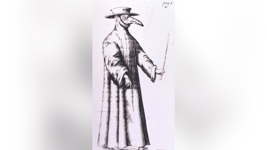 "A ""plague doctor"" with protective clothing. (CDC/Library of Medicine)"