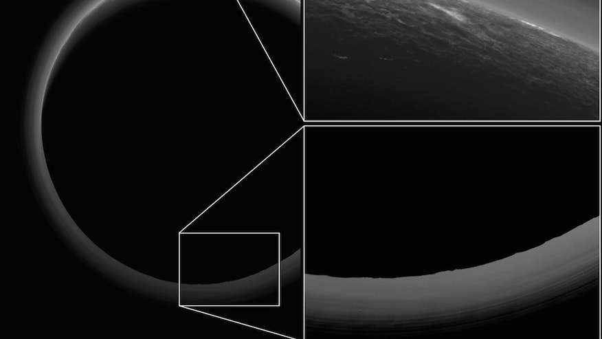This backlit Pluto photo was captured on July 14, 2015 by NASA's New Horizons probe, shortly after its closest approach to the dwarf planet. Mountains, ice plains and a possible cloud are visible in the sunlit portion of
