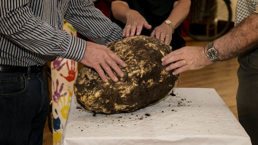 The 2,000 year-old bog butter found in Emlagh Bog, County Meath on June 1 (Cavan County Museum/Copper Tree Photography).
