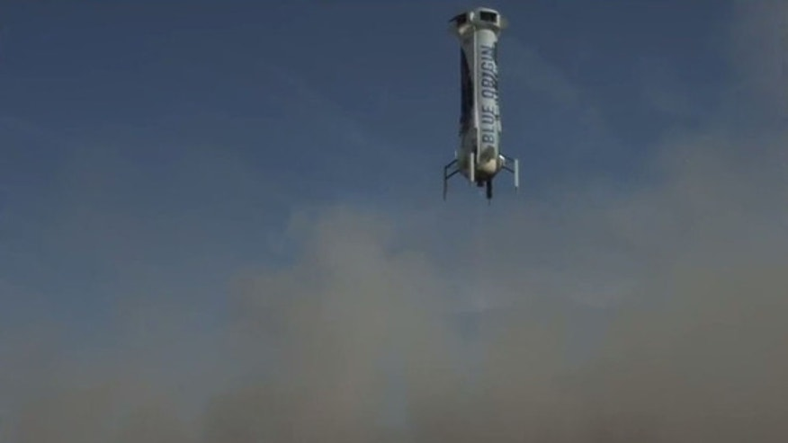 Blue Origin's New Shepard booster approaches its landing site in West Texas during its fourth launch and landing test on June 19, 2016.