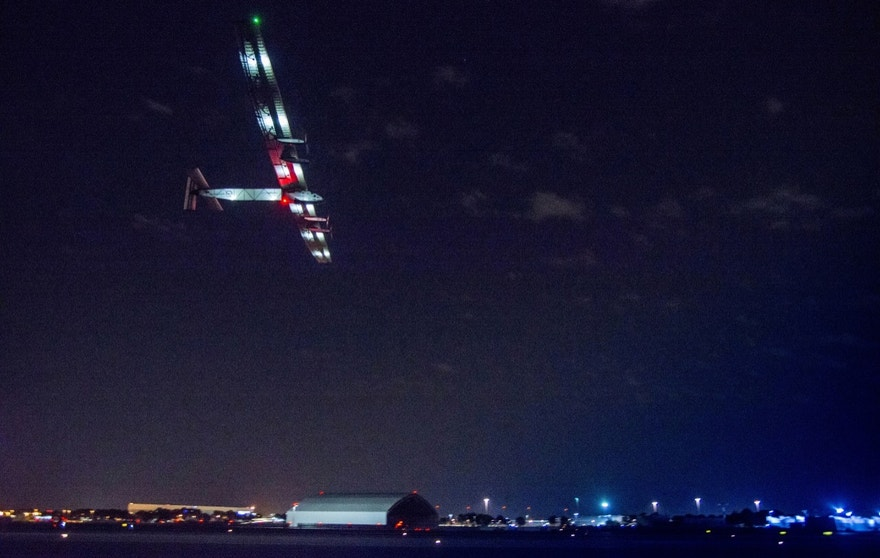 In this photo provided by Solar Impulse 2, the solar powered plane, piloted by Swiss pioneer Bertrand Piccard takes off from John F. Kennedy International Airport in New York on Monday, June 20, 2016, on its way to Southern Spain. (Jean Revillard/Solar Impulse 2 via AP) MANDATORY CREDIT