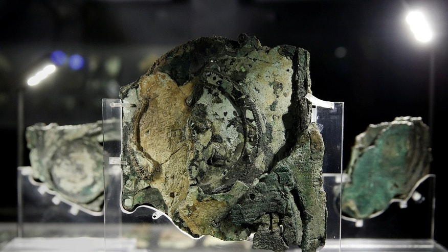 Fragments of the ancient Antikythera Mechanism are displayed at the National Archaeological Museum in Athens, Greece June 9, 2016. (REUTERS/Alkis Konstantinidis)