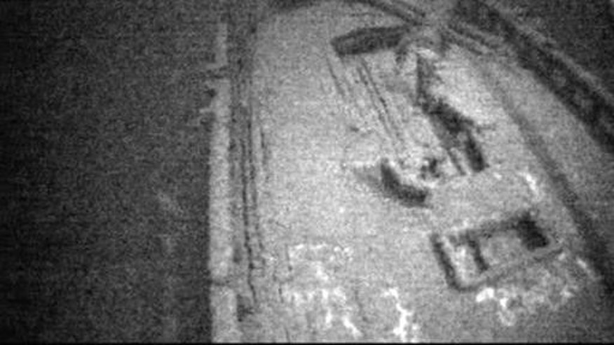 This photo from video provided by Jim Kennard shows the the stern of the shipwrecked Canadian schooner Royal Albert that sank off Lake Ontario's central New York shore nearly 150 years ago.