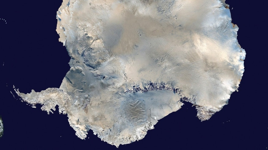 A satellite view of Antarctica is seen in this undated NASA handout photo obtained by Reuters February 6, 2012. Russian scientists are close to drilling in to the prehistoric sub-glacier Lake Vostok, which has been trapped under Antarctic ice for 14 million years. REUTERS/NASA/Handout