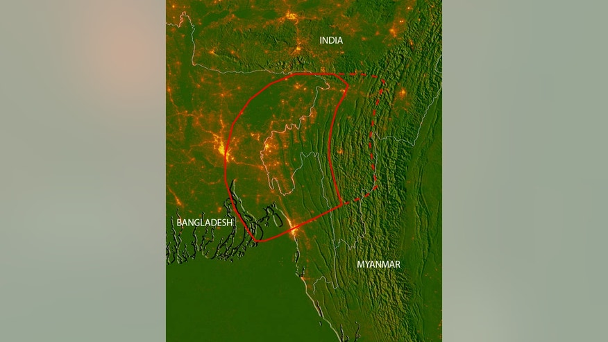 A subduction zone lying beneath Bangladesh, Myanmar and eastern India could release a massive magnitude 8.2 to 9.0 earthquake, new research suggests. The red line shows the areas where the fault is likely locked (the soli