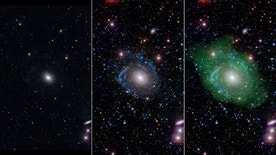At left, in optical light, UGC 1382 appears to be a simple elliptical galaxy. But spiral arms emerged when astronomers incorporated ultraviolet and deep optical data (middle). Combining that with a view of low-density hyd