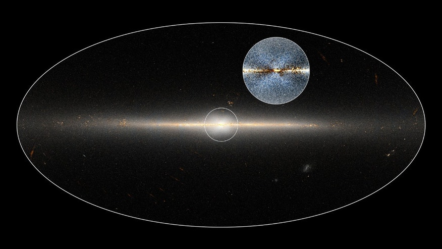 WISE all-sky image of Milky Way Galaxy. The circle is centred on the Galaxy's central region. The inset shows an enhanced version of the same region that shows a clearer view of the X-shaped structure.