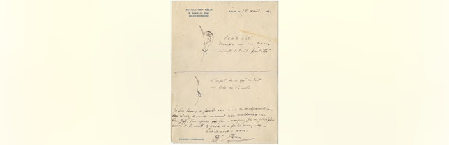 This image made available by the Van Gogh Museum on July 13, 2016, shows a sketch and notes made by Dr. Felix Rey.