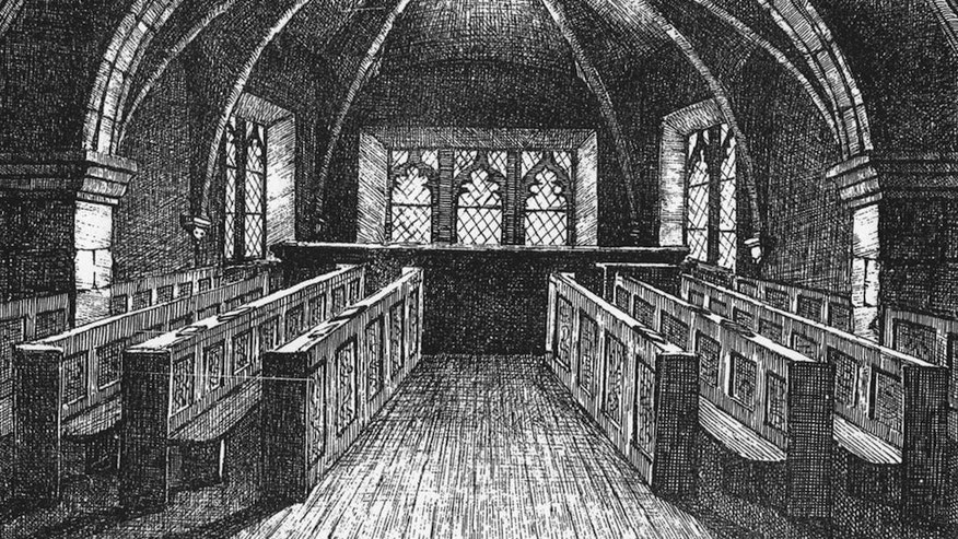 An 1868 drawing of the former prison for witches, St Mary's Chapel, after it was restored to religious use.