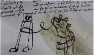 It's difficult to decipher, but this could be a doodle of a person with a cow or a horse.
