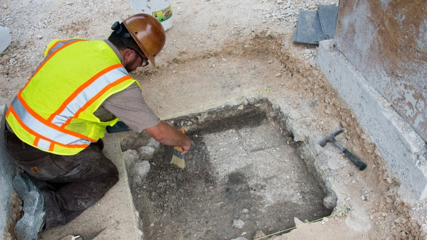 The excavation at the Alamo site (Texas General Land Office).