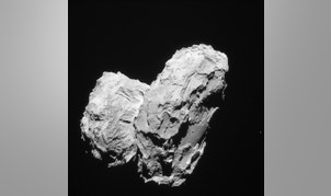 Rosetta's comet is shown in this handout photo taken August 22, 2014 and provided by the European Space Agency, September 28, 2015.  The comet being studied by Europe's orbiting Rosetta spacecraft started off as two separate bodies that later fused, giving rise to the comet's odd rubber ducky shape, a study published on Monday showed.  REUTERS/ESA-Rosetta/Navcam-CC BY-SA IGO 3.0/Handout via Reuters   ATTENTION EDITORS - FOR EDITORIAL USE ONLY. NOT FOR SALE FOR MARKETING OR ADVERTISING CAMPAIGNS. THIS PICTURE WAS PROVIDED BY A THIRD PARTY. REUTERS IS UNABLE TO INDEPENDENTLY VERIFY THE AUTHENTICITY, CONTENT, LOCATION OR DATE OF THIS IMAGE. THIS PICTURE IS DISTRIBUTED EXACTLY AS RECEIVED BY REUTERS, AS A SERVICE TO CLIENTS - RTS262R