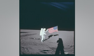 "Astronaut Charles ""Pete"" Conrad Jr., Apollo 12 commander, stands beside the United States flag on the lunar surface during the first extravehicular activity in this November 16, 1969 NASA handout photo. The photograph is one of more than 12,000 from NASA's archives recently aggregated on the Project Apollo Archive Flickr account.  REUTERS/NASA/Handout via Reuters   THIS IMAGE HAS BEEN SUPPLIED BY A THIRD PARTY. IT IS DISTRIBUTED, EXACTLY AS RECEIVED BY REUTERS, AS A SERVICE TO CLIENTS. FOR EDITORIAL USE ONLY. NOT FOR SALE FOR MARKETING OR ADVERTISING CAMPAIGNS - RTS3RPI"